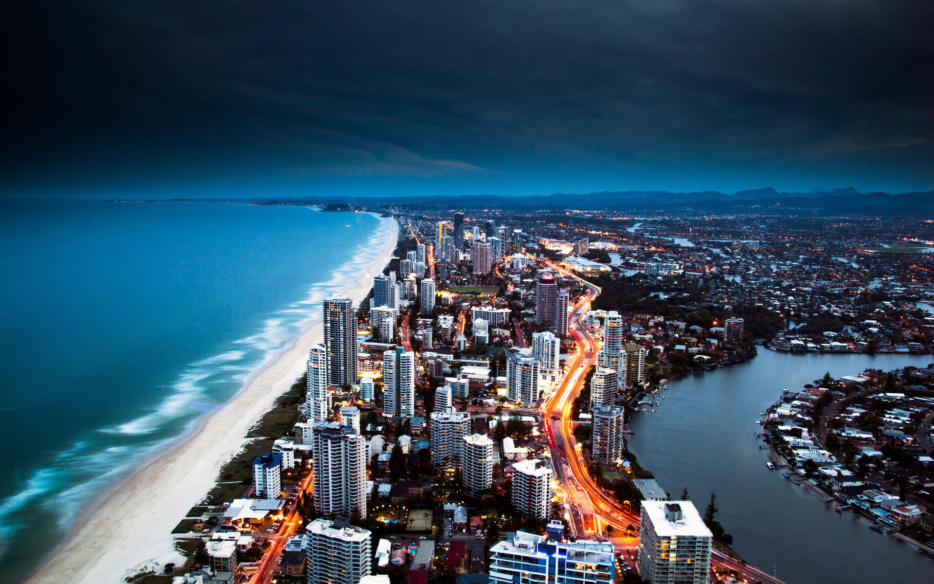Australia Ocean Gold Coast Hotels Sea Beaches Buildings