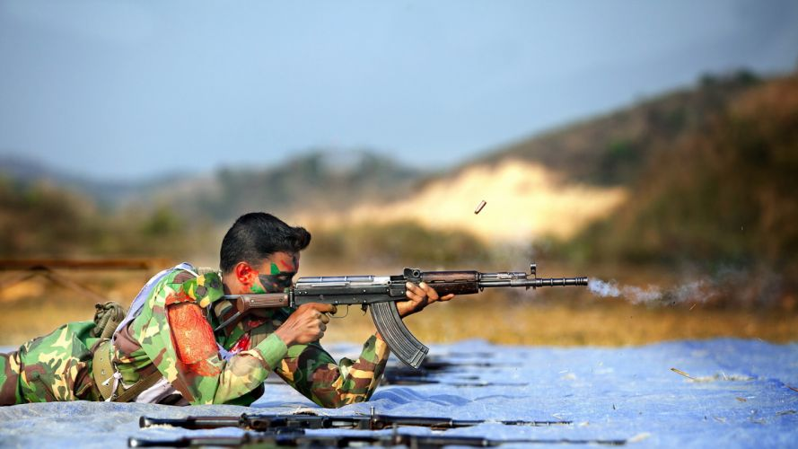 Bangladesh Army soldiers weapons assault rifles warriors men males wallpaper