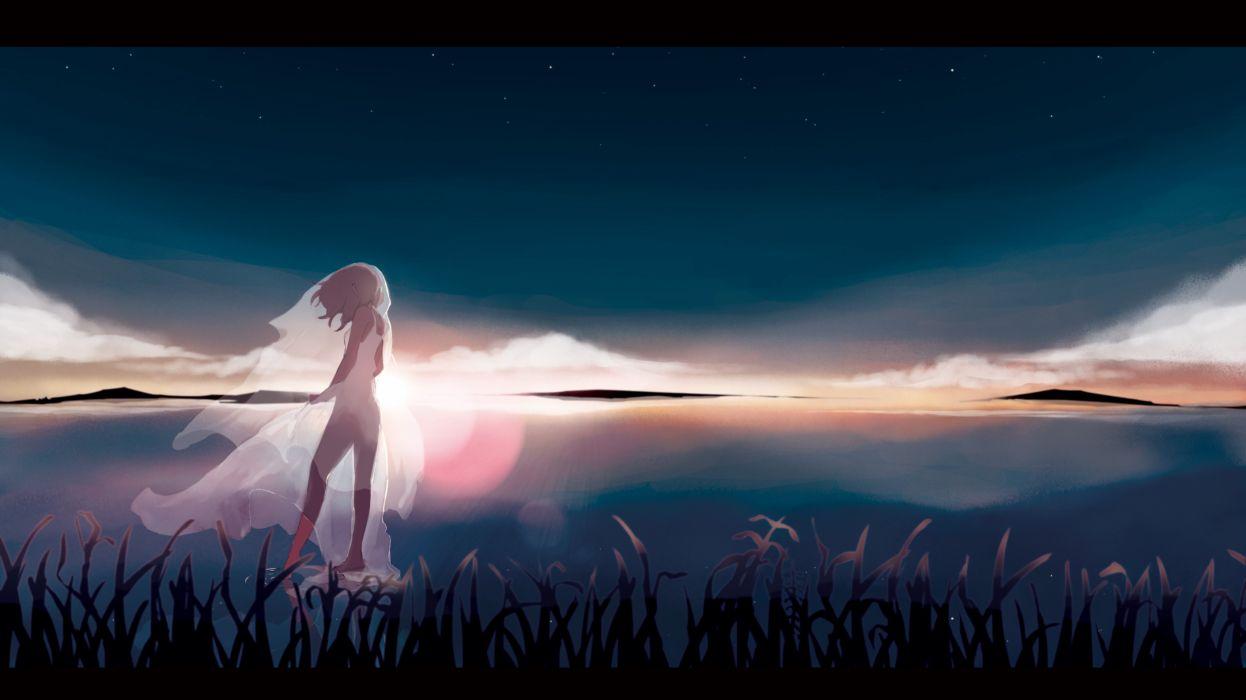 barefoot kagamine rin original scenic see through sky stars taisos vocaloid water wallpaper
