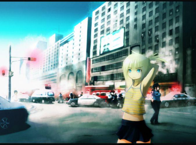 blonde hair blue eyes city navel onibi (foxhound4185) original police skirt wallpaper