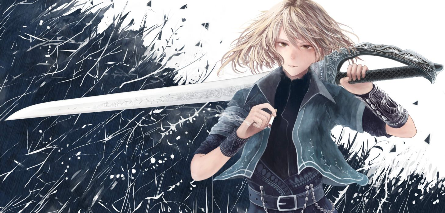 blonde hair bou nin brown eyes cigarette original short hair sword weapon wallpaper