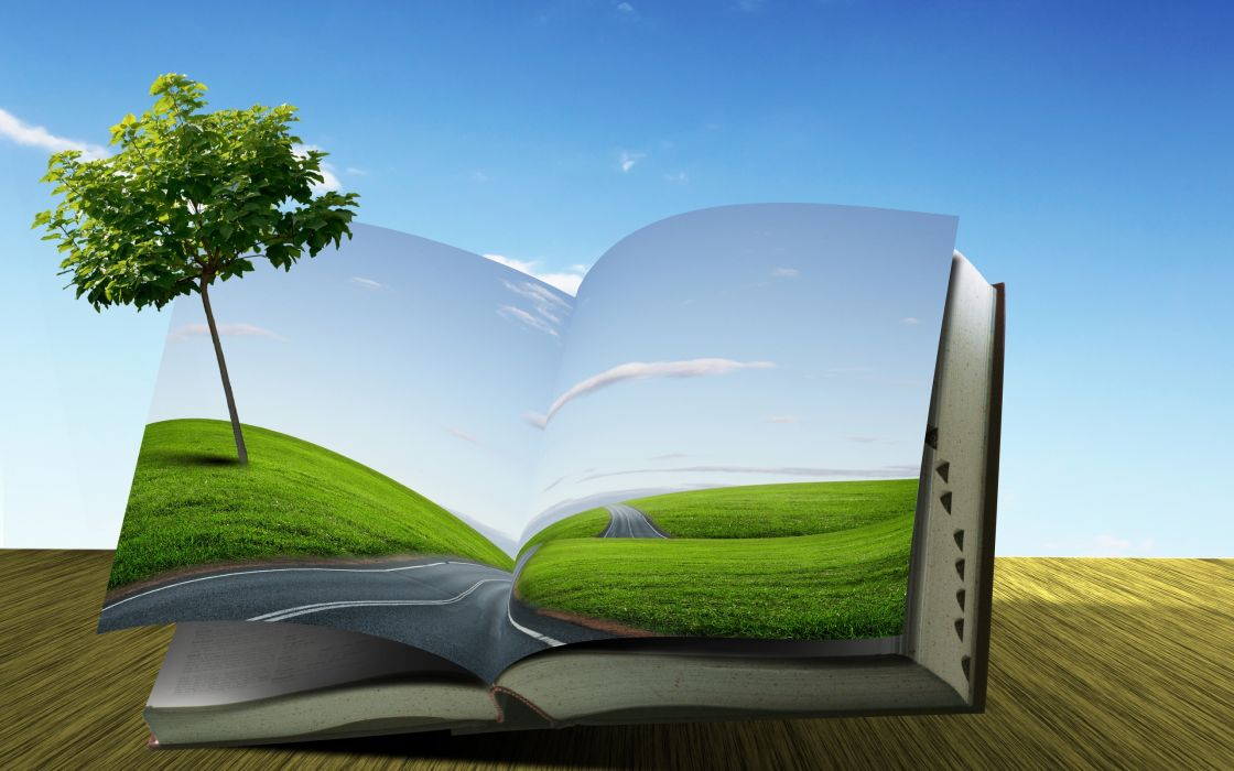 book  tree  road  field  Creative roads landscapes manipulation fields sky clouds wallpaper