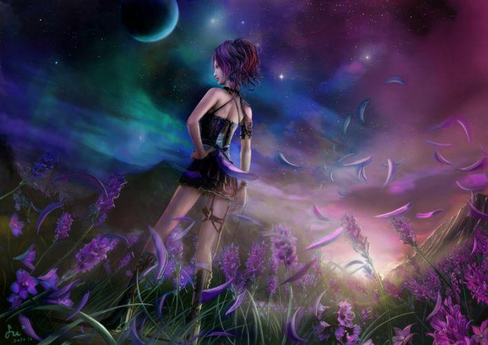 boots flowers fufu moon original petals sky stars wallpaper