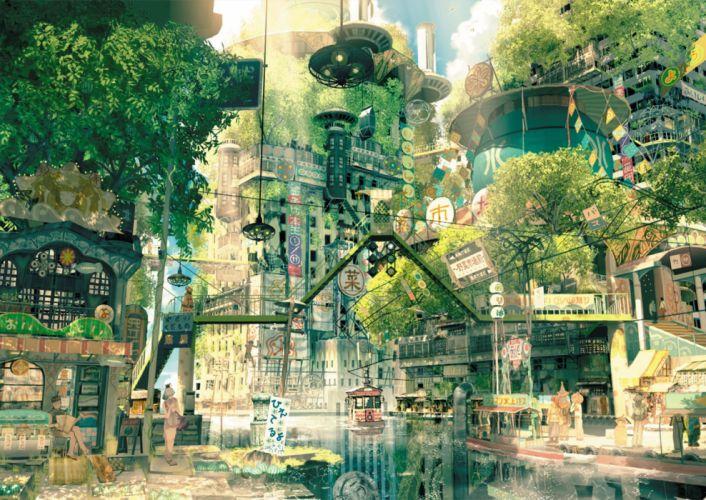 building city landscape original scenic teikoku shounen tree water wallpaper