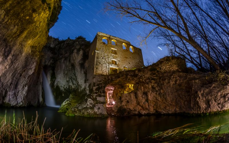 Building Waterfall Stars Night Timelapse Trees Pond sky trees reflection lights wallpaper