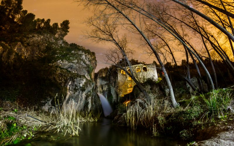 Building Waterfall Stars Timelapse Night Trees landscapes sky wallpaper