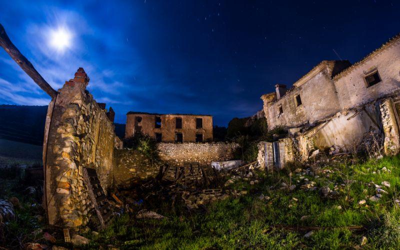 Buildings Night Stars Timelapse Moonlight ruins sky clouds wallpaper