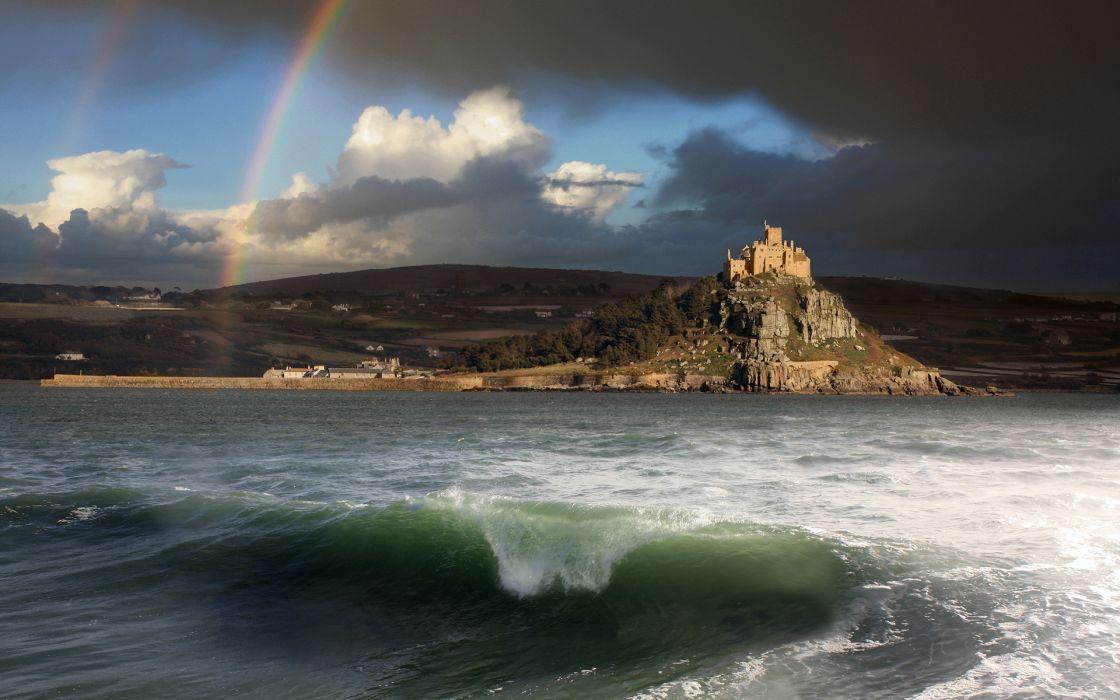 Castle Ocean Rainbow Landscape Coast buildings sea waves landscapes sky clouds storm wallpaper