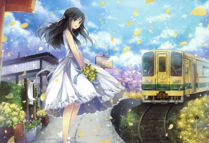 clouds dress flowers grass hagiwara rin landscape long hair original petals scenic sky summer dress train wallpaper