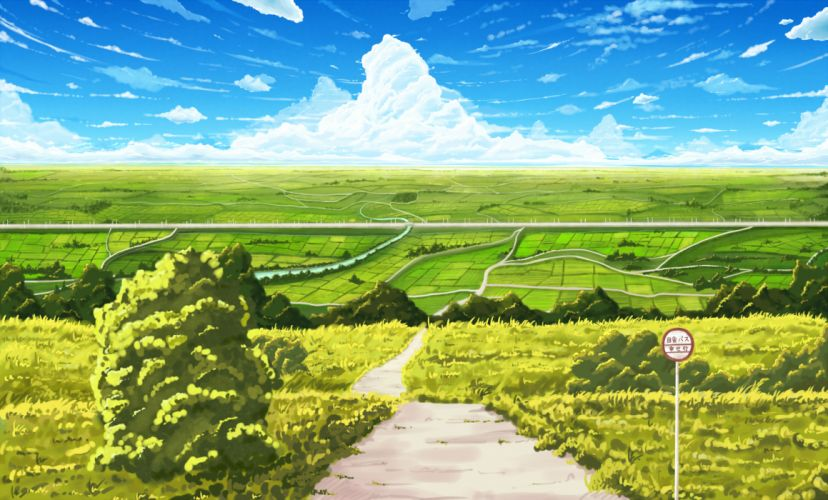 clouds grass landscape original pei (sumurai) scenic sky wallpaper