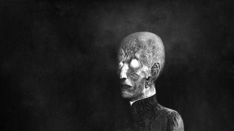 Creepy BW Drawing dark face black white wallpaper