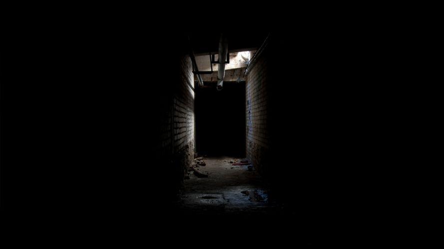 Creepy Corridor Hallway Black dark creepy wallpaper