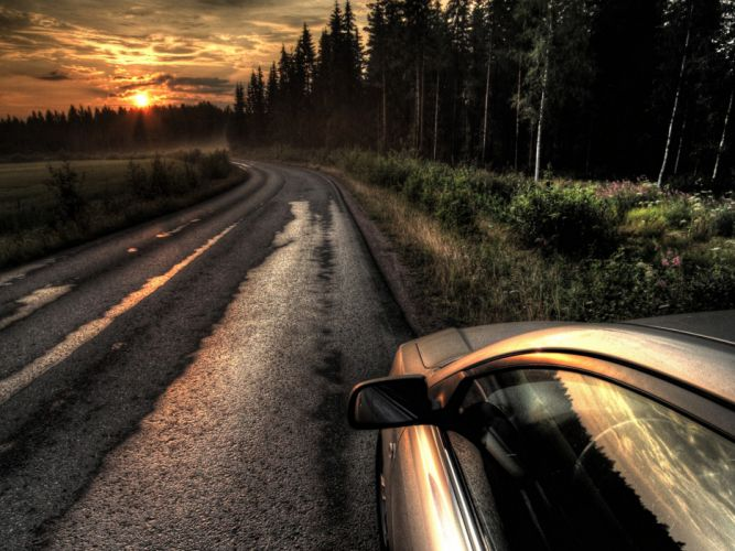 sunset cars roads HDR photography wallpaper