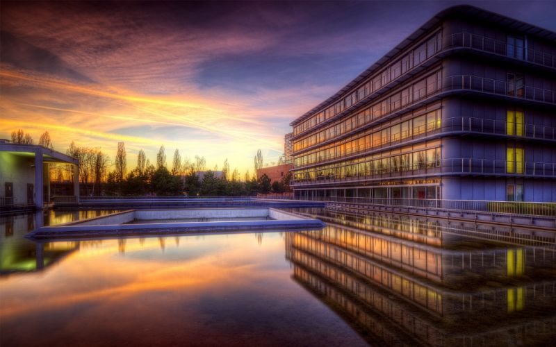 sunset clouds cityscapes architecture buildings HDR photography swimming pools reflections wallpaper