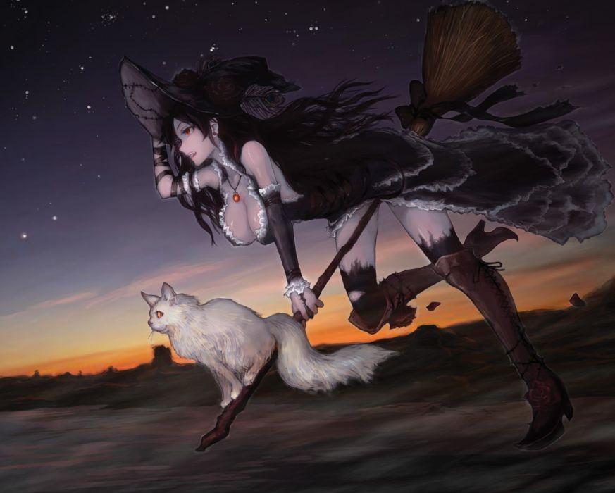 animal black hair cat cleavage jpeg artifacts long hair original sasagawa (haikaiki) thighhighs witch wallpaper
