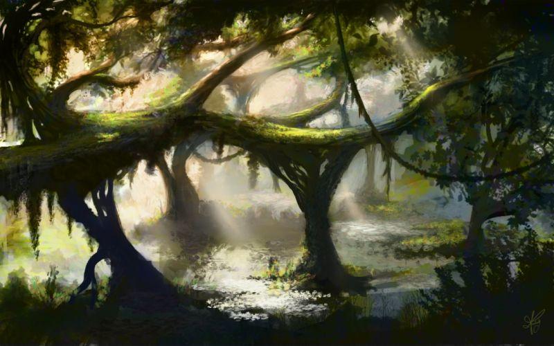 art jungle tree bushes vines water marsh pond forest lakes fantasy moss sunlight wallpaper