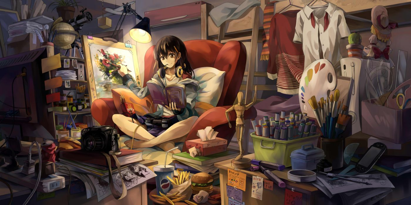 barefoot black hair book brown eyes headphones kirisame marisa long hair neko (yanshoujie) original tagme wallpaper