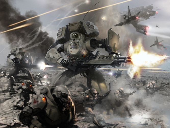 battle soldiers armor bottles shots smoke fire weapons offensive mecha sci-fi warriors battle futuristic wallpaper