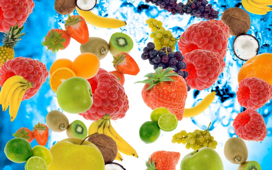 berries fruits raspberries bananas kiwi strawberry lemon apple pineapple coconut grapes water bubbles wallpaper