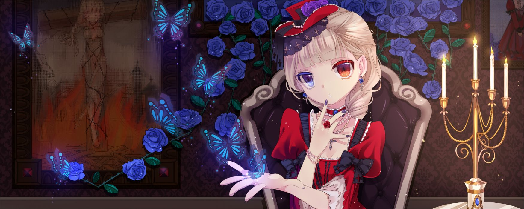 bicolored eyes blonde hair bow butterfly dress fire flowers hat mvv necklace original rose wallpaper