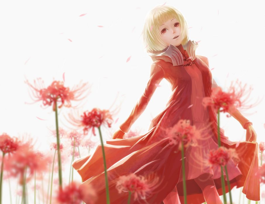 blonde hair dress flowers original petals red eyes wallpaper