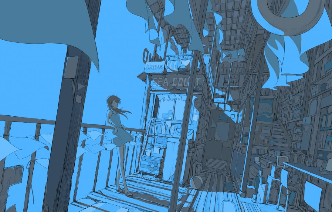 blue hebitsukai long hair monochrome original stairs summer dress umbrella wallpaper