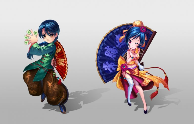 blue hair chinese clothes cleavage diamond dust fan original wink wallpaper