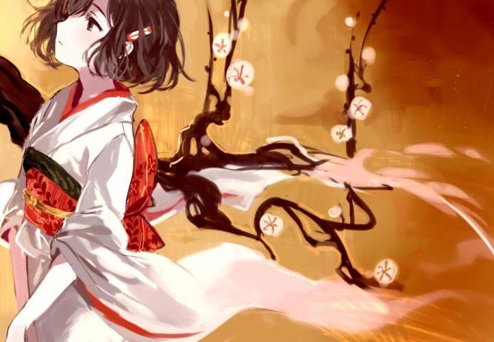 brown eyes brown hair japanese clothes kimono original short hair tan (tangent) wallpaper