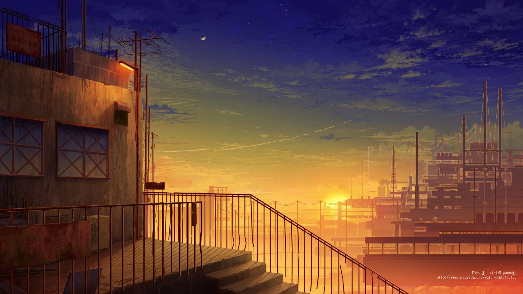 Sunset City Building Building City Clouds Juuyonkou