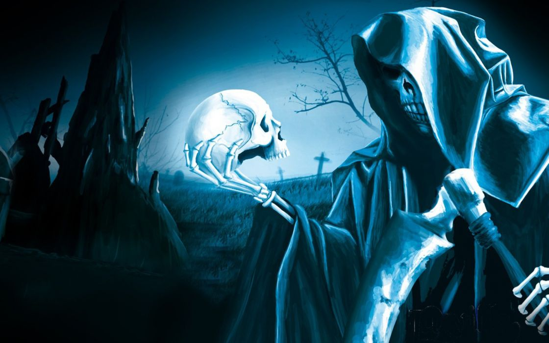 Dark Grim Reaper horror skeletons skull creepy            f wallpaper