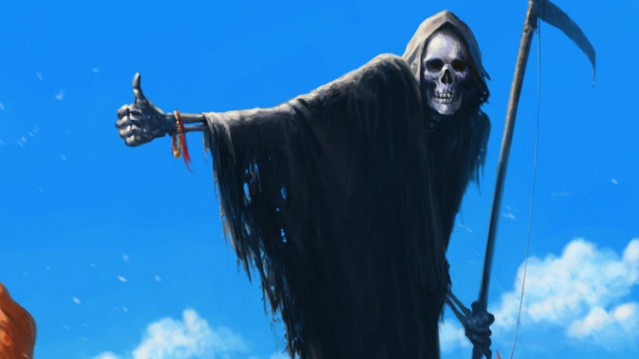 Dark Grim Reaper horror skeletons skull creepy         s wallpaper