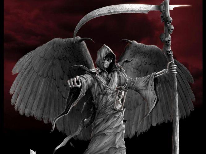 Dark Grim Reaper horror skeletons skull creepy w wallpaper