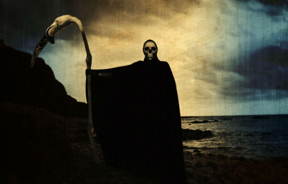 Dark Grim Reaper horror skeletons skull creepy       i wallpaper