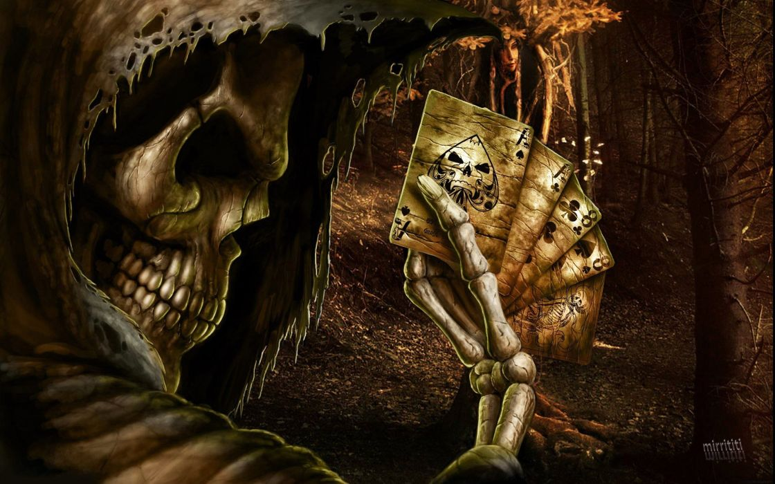Dark Grim Reaper horror skeletons skull creepy cards games poker ace spades     f wallpaper