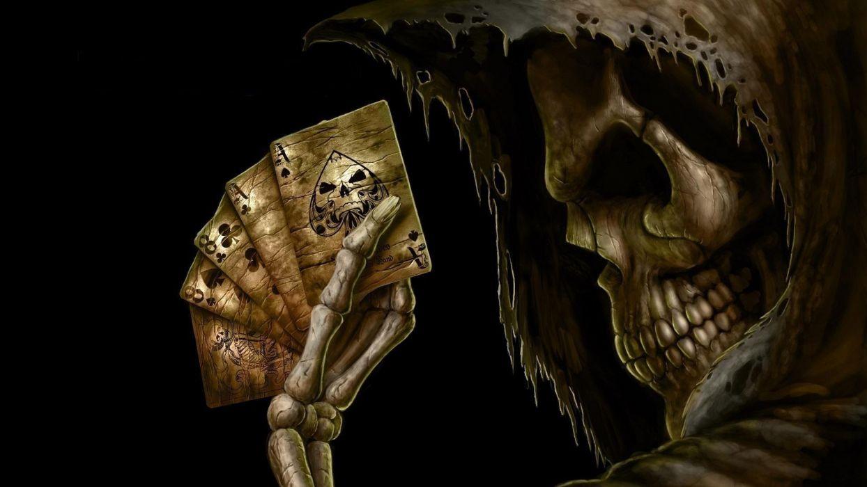 Dark Grim Reaper horror skeletons skull creepy cards games poker ace spades wallpaper