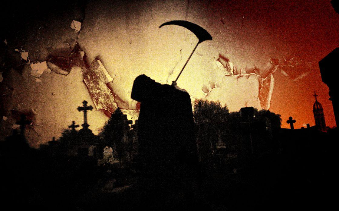 Dark Grim Reaper horror skeletons skull creepy cemetary cross gothic wallpaper
