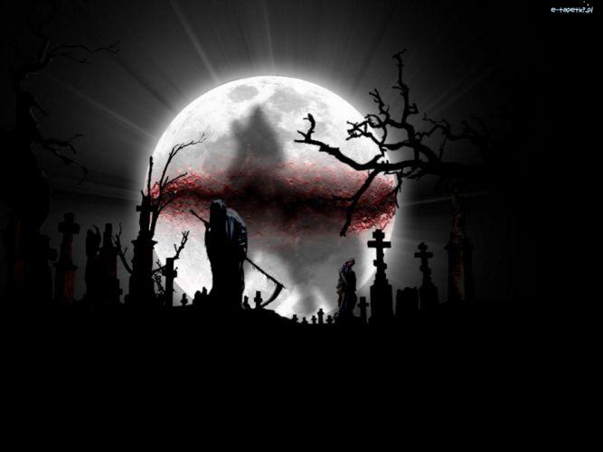 Dark Grim Reaper horror skeletons skull creepy cemetery moon cross gothic wallpaper