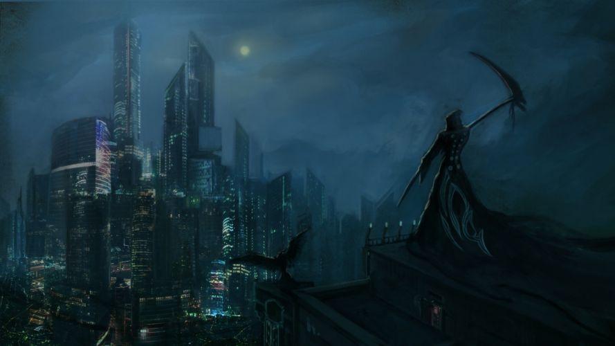 Dark Grim Reaper horror skeletons skull creepy cities night wallpaper