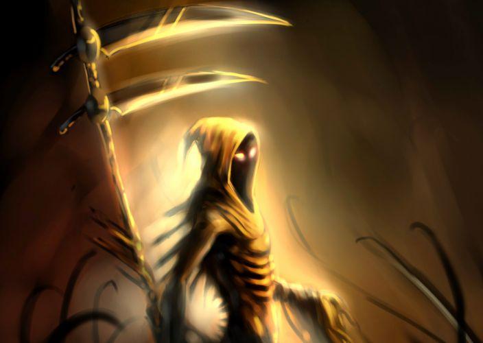 Dark Grim Reaper horror skeletons skull creepy eyes wallpaper