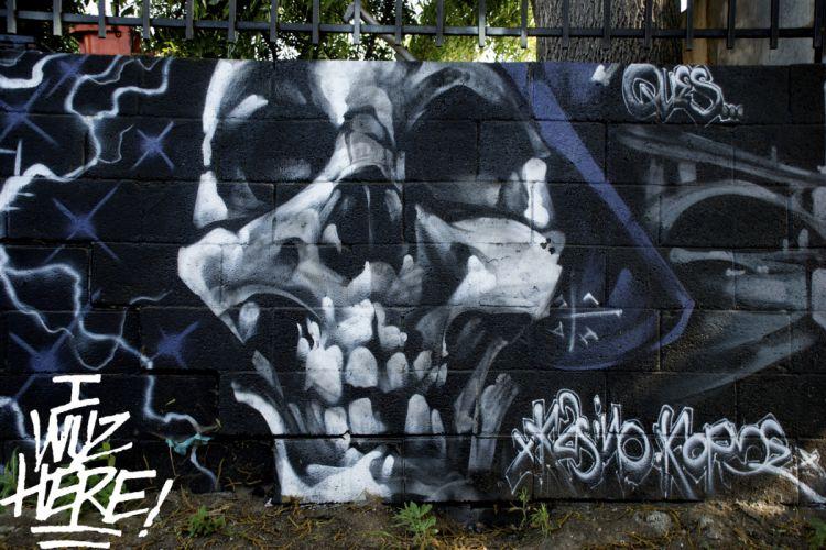 Dark Grim Reaper horror skeletons skull creepy grafitti art painting urban text wall bricks wallpaper