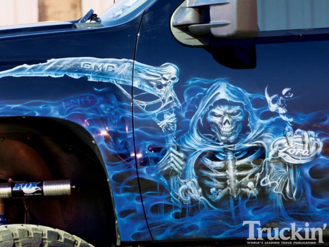 Dark Grim Reaper horror skeletons skull creepy trucks gmc wallpaper