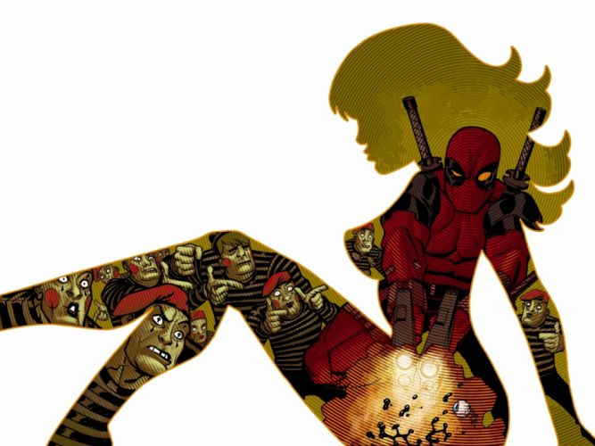 Deadpool silhouette women females girls cleavage sexy babes wallpaper