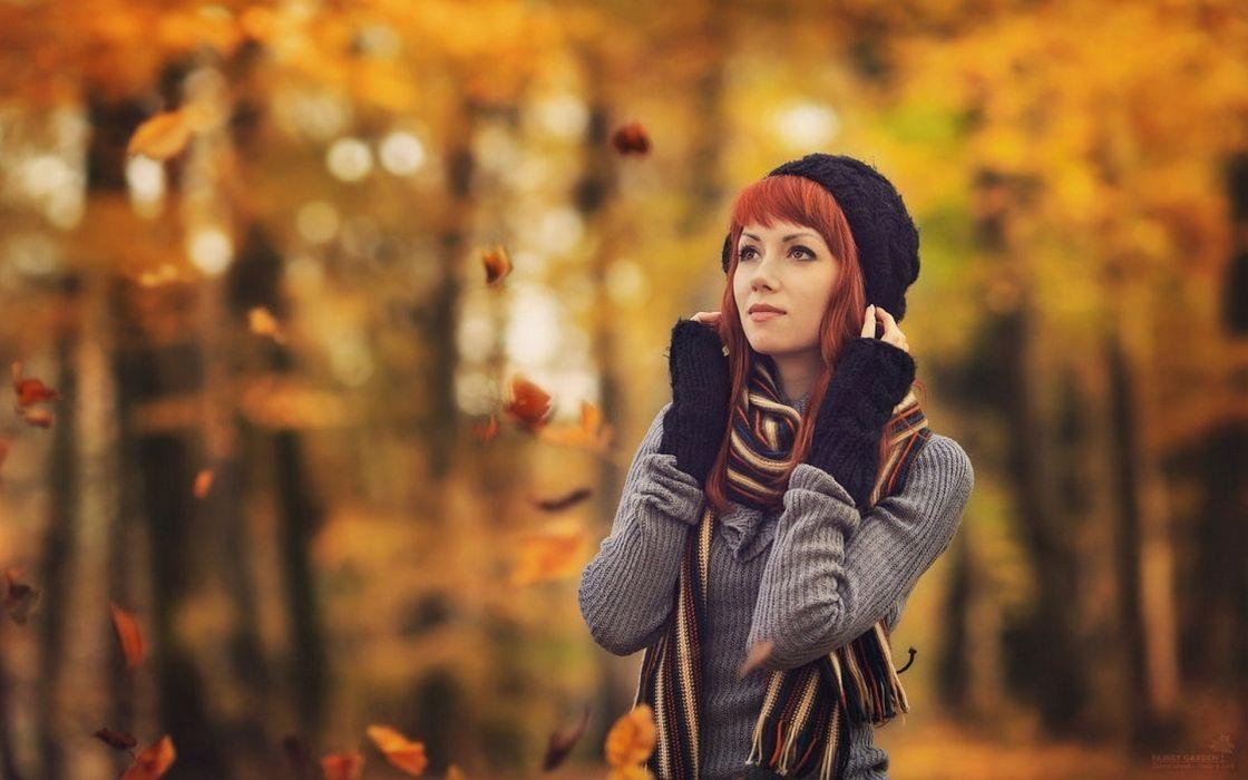 women redheads sweater hats redhead autumn upscaled wallpaper