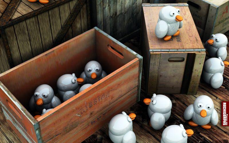3D view ducks wallpaper