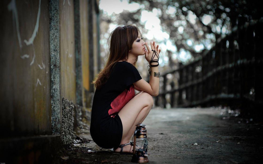brunettes women models Asians Taiwan Mikako Zhang Kaijie photo shoot wallpaper