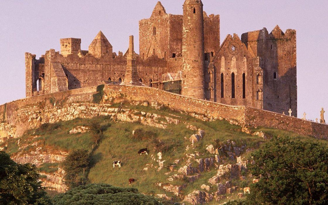landscapes nature castles architecture buildings Ireland The Rock Rock of Cashel wallpaper