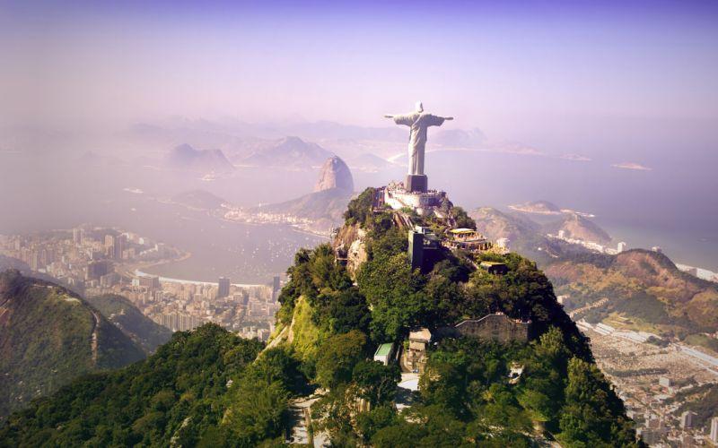 ocean hills Brazil sculpture Rio De Janeiro Jesus cities Cristo Redentor Christ the Redeemer wallpaper