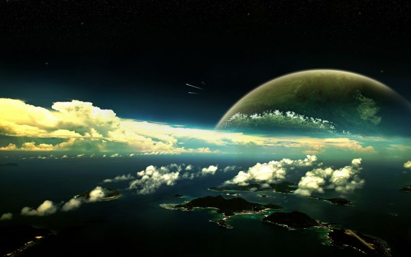 outer space planets panorama wallpaper