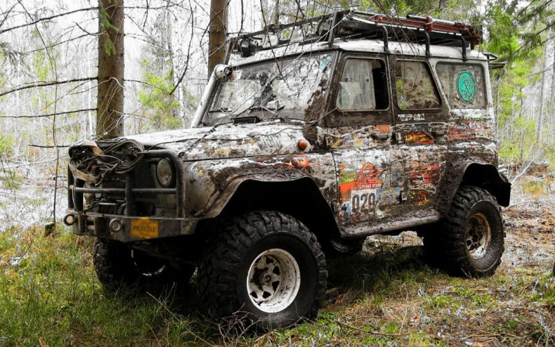 trees forest cars UAZ offroad russian cars Russians wallpaper