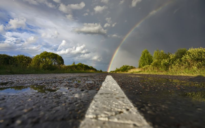 rain rainbows roads wallpaper